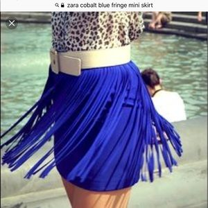 Zara Cobalt Blue Fringe Mini Skirt